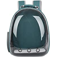 POPETPOP Portable Pet Cat Dog Puppy Backpack Carrier Bubble 360 Degree Transparent Space Capsule Backpack (Dark Green)