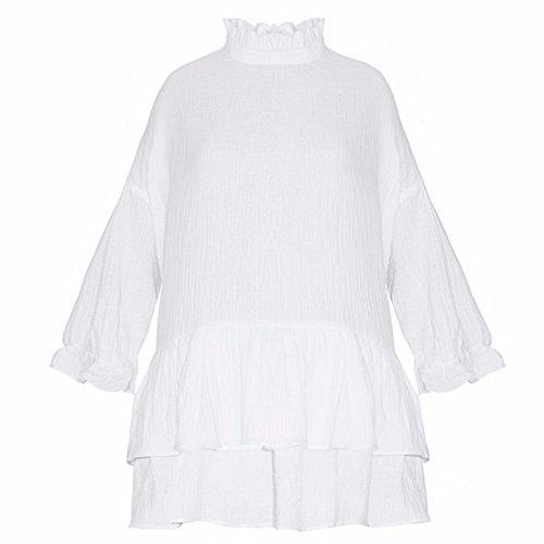 Neue Frauen WeissEn Stand Kragen Gefaltetes Gewaschener Baumwolle Flouncing Loses Kleid Xs Xxl Weiß