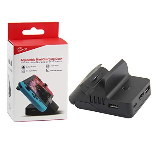 Qintaiourty HDMI-Ladestation Verstellbare Halterung HDMI-Videokonvertierungs-Ladestation für Nintend Switch Host