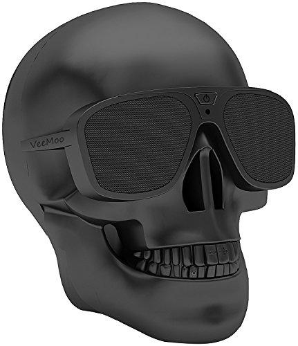 Veemoo Altavoz Bluetooth Inalámbricos Cráneo Apoyo AUX NFC 4000mAh Recargable Altavoces Estéreo Porable para iPhone iPad Smartphone Tablet PC ordenador Netbook Negro