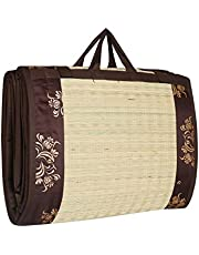 CRAFT OF INDIA Cotton Cushion Sleeping Foldable Mat, 4x6ft, Brown
