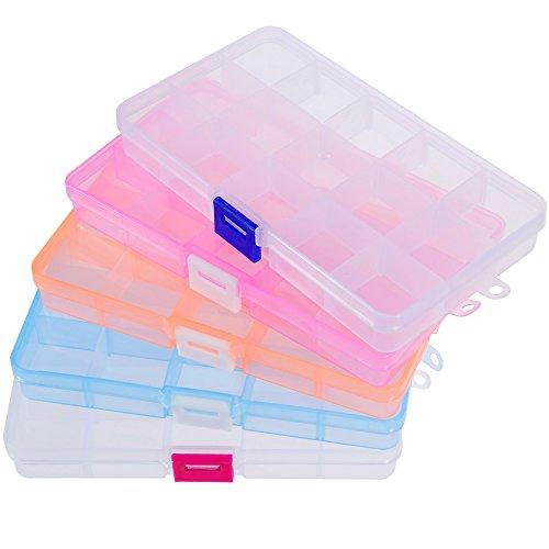 Rovtop 5 Packungen Plastik Aufbewahrungsbox 5 verschiedene Farben Werkzeugcontainer Schmuckschatulle