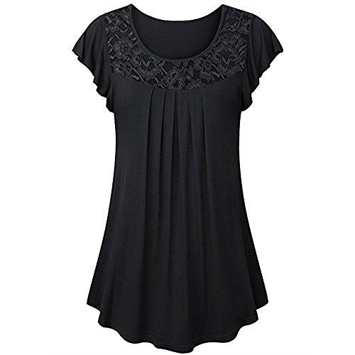Plissee-rüsche Shirt (Muyise Sommer Damen Tops Plus Size Lace Panel Plissee Rundhals Shirt Rüschen Kurzarm Casual Loose Tunika Blusen Oberteile(Schwarz,XL))