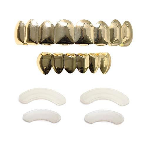 TSANLY 24 K vergoldetes Grillz 8 Zähne Mundstück Oben & unten Set Hip Hop Bling Grills für Sohn + extra Formstäbe + Mikrofasertuch (Halloween-kostüme Für Gute Teenager-mädchen Ideen)