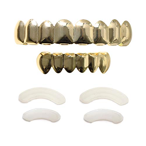 TSANLY 24 K vergoldetes Grillz 8 Zähne Mundstück Oben & unten Set Hip Hop Bling Grills für Sohn + extra Formstäbe + Mikrofasertuch