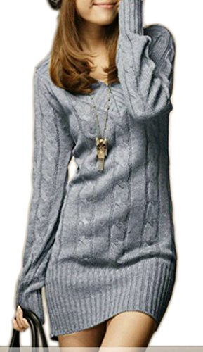 Sexy Damen Lang Tunika Pullover strickpullover mit V-Ausschnitt Japan Style Korea Fashion!! Farbwahl!! M38!! (925) (Grau) (Mit Acryl-pullover V-ausschnitt)