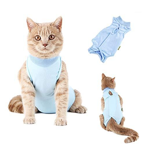 Descripción del producto:    El tejido de buena calidad ayuda a que la herida sane con seguridad.   Hay agujeros para cuatro extremidades, las mascotas podrían acostarse cómodamente y hacer cosas libremente.   Hecho a mano y sin ganchillo, los gatos...
