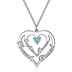 Zhaolian888 Collier Personnalisé Prénom Argent avec Coeur pour Femme avec 4 Prénoms et Pierre de Naissance Cadeau pour la Fête des mères