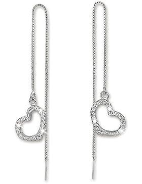 SilberDream Glitzer Ohrring Durchzieher Herz offen weiß 925er Ohrhänger Silber GSO432W
