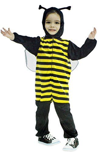 GYD Biene Kostüm Bienenkönig Bee Cap Hummel Kinderfasching Jumpsuit Honigbiene weicher Stoff Schwarz/Gelb 3-4 Jahre (Bumble Bee Kostüm Baby)