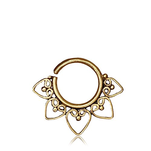 Heart Mandala Brass Septum Ring For Pierced Nose 1mm Buy Online In Bahamas Tribalik Products In Bahamas See