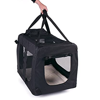 TRESKO® Folding Portable Soft Fabric Pet Carrier with Fleece Mat and Food Bag (S 49 x 32 x 35 cm, Beige) 5