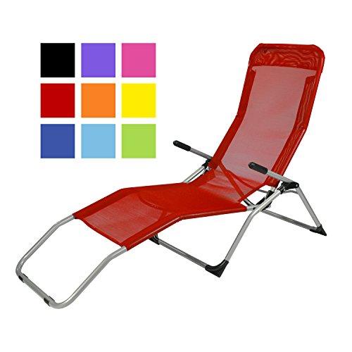 TPFGarden Gesundheitsliege Kippliege Relaxliege ATHEN klappbar + aus Stahl + wetterfest | Farbe: Rot | Hohe Qualität