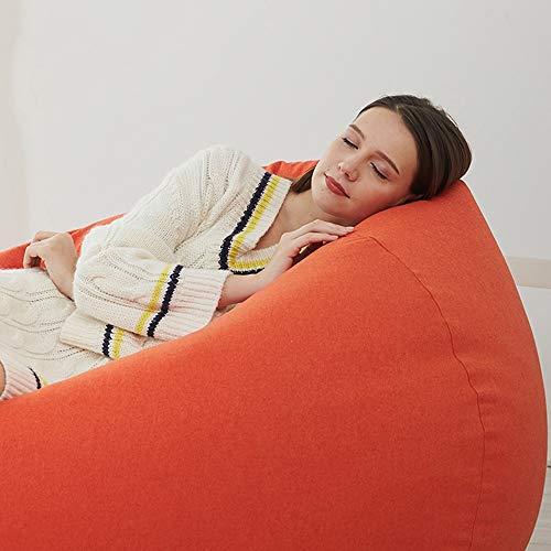 NIUYG BEAN BAG BAZAAR Sitzsack Extra Groß for Erwachsene EPP Umweltfreundlich Füllkörnchen Ausgesucht Leinenbaumwollmantel Lagerstark Schlafzimmerbalkon mit Tatamistühlen (Color : Orange, Size : M)