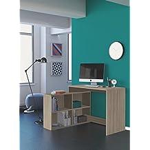 Mesa escritorio con estanteria baja. Roble shannon. De estudio, despacho, ordenador o dormitorio juvenil. 2 montajes