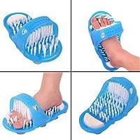 Gorgebuy Ducha del baño sin pies de flexión Cepillo de Limpieza de pie de cerdas Zapatillas Lavadora de baño Scrubber Masajeador Stick en el Piso con lechón