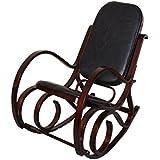 Rocking-chair fauteuil à bascule M41, imitation noyer, cuir Patchwork, noir