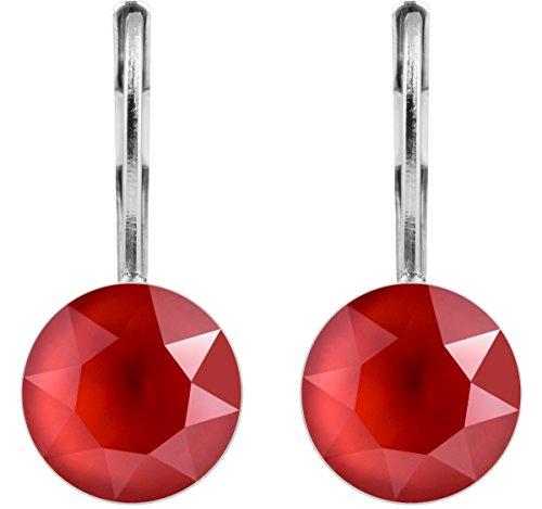 petra kupfer Damen Ohrringe Ohrhänger Rivoli 1 Swarovski®-Kristall 9 mm Rot Royal Red Versilbert hk39tb-royal-red