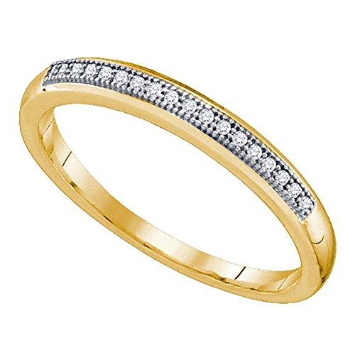 Da donna in oro giallo 10k diamante rotondo nuziale anniversario di matrimonio band 1/20cttw e 10 ct oro giallo, 7, cod. d2d-64547-7