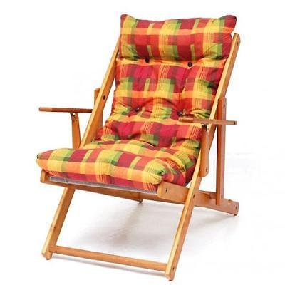 Sill n tumbona relax de madera plegable coj n relleno h for Sillon relax madera