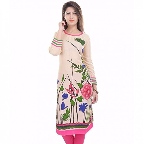Indian Designer Bollywood Collection Branded Women's Cotton Kurta (P01 _Pink _Free Size) By Shree Impex  available at amazon for Rs.399