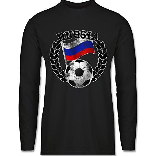 Shirtracer Fußball-WM 2018 - Russland - Russia Flagge & Fußball Vintage - Herren Langarmshirt Schwarz