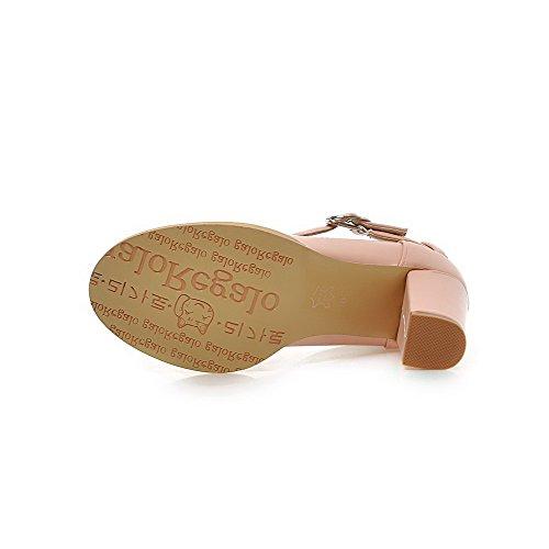 AgooLar Femme Pu Cuir à Talon Haut Rond Couleur Unie Boucle Chaussures Légeres Rose