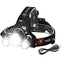 Victoper Lampe Frontale LED Rechargeable 3 lumières 4 Modes, 6000 lumens IPX5 Étanche, Lampe Frontale LED Super Lumineuse avec Câble USB et 2 Batteries, pour Course à Pied, Camping, Pêche, Cyclisme