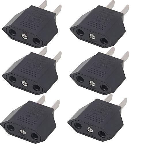[6 Unidades] VGUARD Universal Adaptadores de Enchufe Plano EU Europa ESPAÑA a EE.UU./ USA / Estados Unidos, Canadá, México, Cuba, Japón, CN / China, Hong Kong, Taiwán, Tailandia y Así Sucesivamente. Adaptador de Viaje Enchufe Plug – Negro