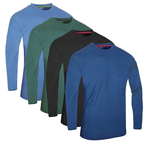 Full Time Sports Fts-640 4 Pack Sortiert Malange Combo 2 Langarm Tech T-Shirt Hellblau Dunkelblau Holzkohle Grün -XXL