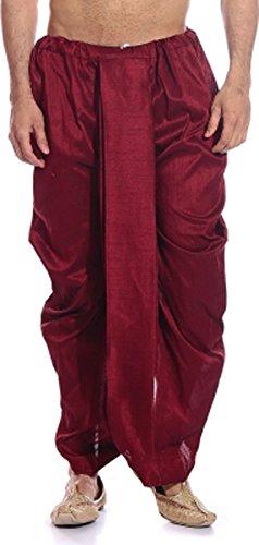 Royal Kurta Men's Maroon Silk Blend Free Size Ready to wear Traditional india's Costume - Dhoti Kurta