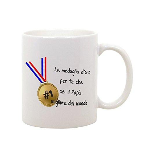 Bubbleshirt tazza mug in ceramica festa del papà la medaglia d'oro per te che sei il miglior papà del mondo - humor - happy father's day - idea regalo