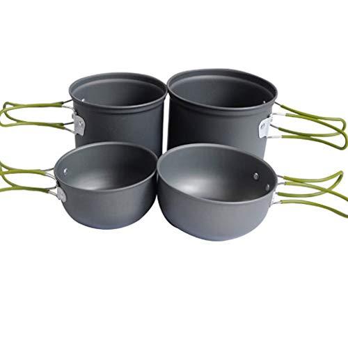 QVIVI Kit di stoviglie Set di pentole da Campeggio Set di pentole in Alluminio Fornello da Esterno Set di pentole da Picnic Grill 2-3 Set di cucine da Esterno per 4 Persone