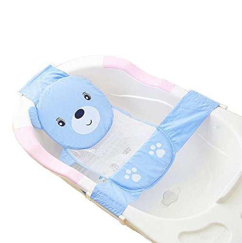 Newborn Adjustable Bath Seat Net Mesh Sling Safety Bathing Bed Support (Free size, blue)