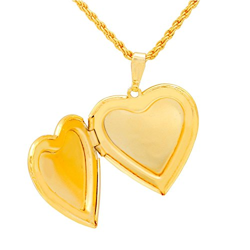 Cairo Heart Pendant Locket With Gold Plated Chain