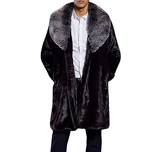 KPPONG 2018 Herren Jacke Dicke Faux Fur ubergangsjacke Softshell Outwear Herren Trenchcoat Lang Schwarz Herren Strickjacke Cardigan mit Schalkragen Herren Kragen Mantel Mode Warme Parka