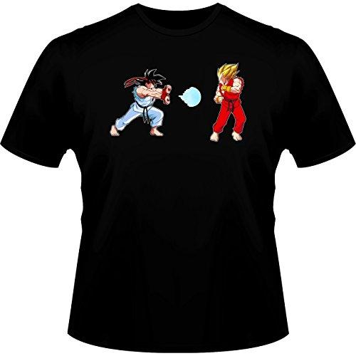 Street Fighter Ryu and Ken X Dragon Ball Z Son Goku and Vegeta Parody Men's T-shirt - Funny video games T-Shirt