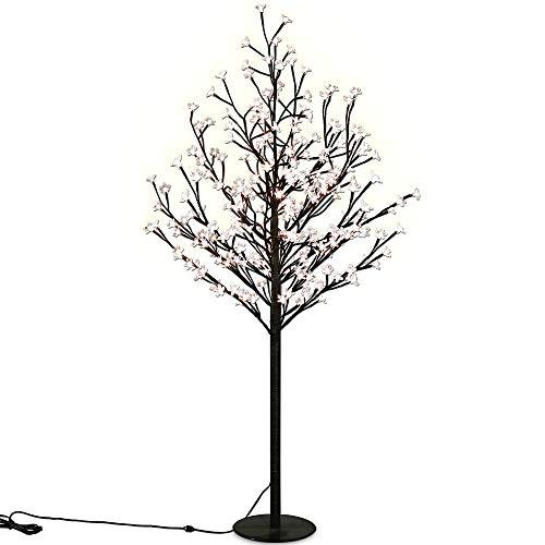 Deuba Kirschblütenbaum 200 LED | 180cm Lichterbaum Indoor Outdoor Metallfuß Stabil | Weihnachten Beleuchtung Warmweiß
