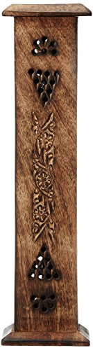 Hosley Wooden Incense Holder with 20 Highly Fragranced Incense Sticks, Brown