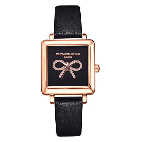Gaddrt Damenuhr Quartz Uhr Lvpai 3D Emboss Lässige Quarz Lederbanduhr Analoge Armbanduhr beiläufig Mode Geschäft (Schwarz)