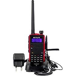 Retevis RT5 Walkie Talkie Profesional Banda Dual Monitor 128 Canales Escanear VOX Radio FM 1750Hz Cargador Europeo Pinganillo Transmisor (Negro y Rojo,1 Pac)