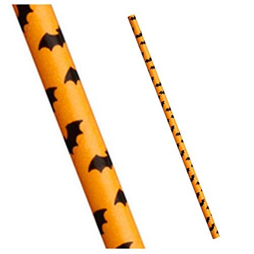 Papiertrinkhalme,Halloween, orange mit schwarzen Fledermäusen,25Stück