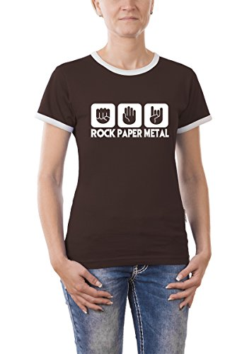 Touchlines Damen Kontrast T-Shirt Stein Papier Rock Heavy Metal Girlie Ringer, Brown, S, B9305 (T-shirt Musik Damen Ringer)
