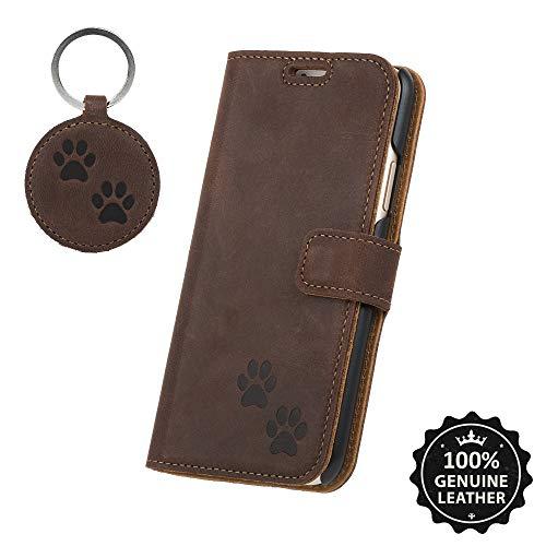 SURAZO Doppel Pfote - Premium Vintage Ledertasche Schutzhülle Wallet Case aus Echtesleder Nubukleder Fixierung mit Kunststoffen Farbe NussBraun für Huawei P10 LITE