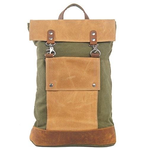 Nasis Vintage Canvas und Leder Herren Messenger Bag Rucksack Schultertasche Alltagtasche AL4137 (grün)