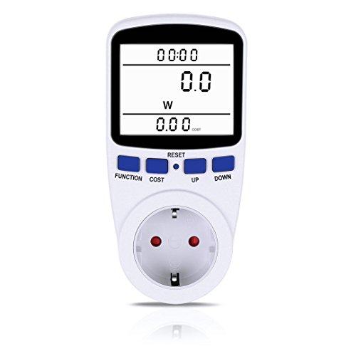 Strommessgerät, Foraco Energiekostenmessgerät Steckdose mit Hintergrundbeleuchtung LCD Bildschirm Stromverbrauchszähler mit Überlastsicherun 3680W, Weiß