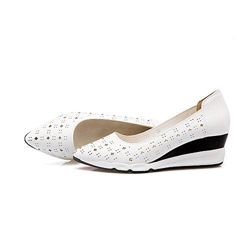 AgooLar Damen Ziehen Auf Spitz Zehe Mittler Absatz Pu Leder Rein Pumps Schuhe Weiß
