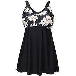 Lover-Beauty Conjunto de mujer una pieza estampado falda verano talla grande volante flounce para playa
