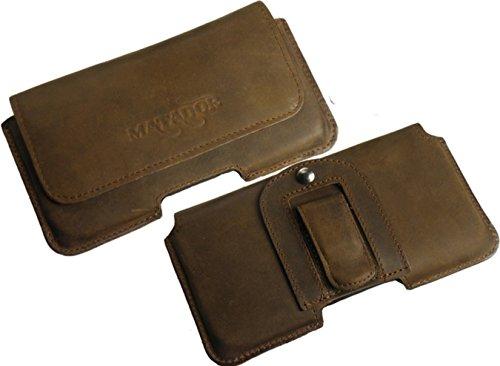 Exclusiv Slim Design In Old Style Vintage Antik Echt Leder Tasche von Matador für Motorola RAZR I XT890 Handytasche Gürteltasche Quertasche mit GürtelClip Special Anfertigung Schutzhülle Etui Case in Tabacco