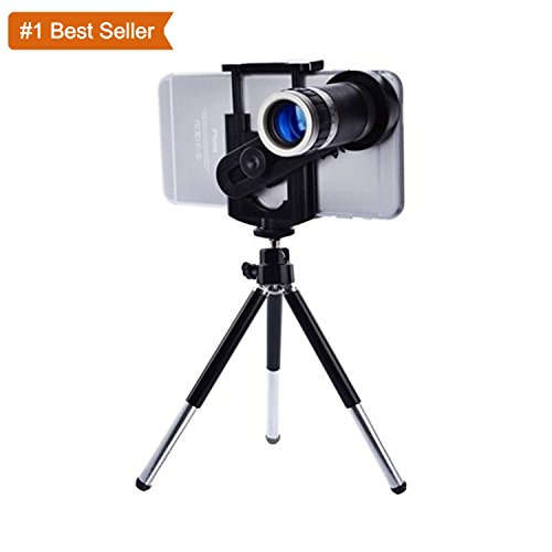 Rewy 8x Extra Zoomer Optical Zoom Telescope Mobile Camera Lens Kit with Tripod and Adjustable Holder Compatible for All Android Iphone Samsung – Assorted Color